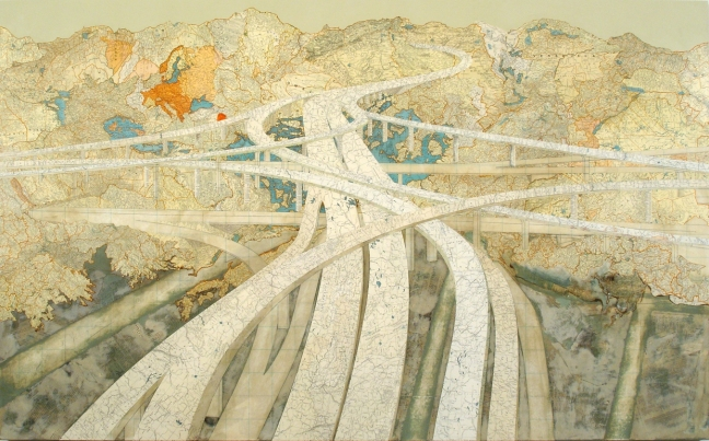 Course-of-Empire-Mixmaster-II-2006-Maps-and-acrylic-on-wood-panel-by-Matthew-Cusick